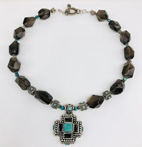 Barse Sterling Silver Turquoise Smoky Topaz Beaded Cross Pendant Necklace