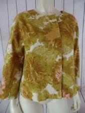 TALBOTS PETITES Blazer 10P Gold Floral Textured Cotton Hidden Button Front RETRO