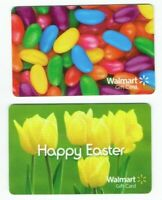 Walmart Gift Card LOT of 2 - Easter, Jellybeans, Yellow Tulips - Older -No Value