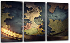 120x80cm Lein-Wand-Bild: Game of Thrones Landkarte Westeros Globus Meer