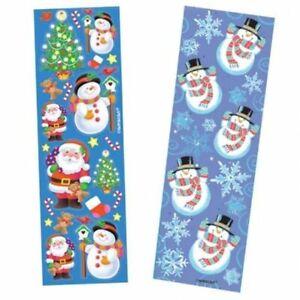 Kids Christmas sticker strips Party Bag Fillers -8 Per Pack Scrapbook Kids Craft