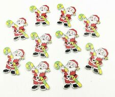 30 Christmas Santa Buttons Craft Cardmaking Scrapbooking Wood Embellishments