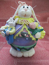 Easter Bunny Rabbit Decor w/baby & tulips Glass and Resin Figurine