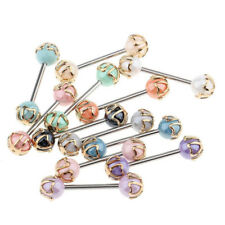 12PCS Colorful Ball Tongue Nipple Bar Ring Barbell Body Jewelry Piercing 16G HOT