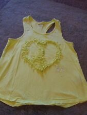 DKNY GIRL'S Florescent Yellow Cotton Bl Sleeveless Tank W/Peace Sign, Size 14