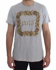Nuovo Dolce & Gabbana T-Shirt collo Tondo 2015 Motivo Stampa Cotone Blu S.IT52 /
