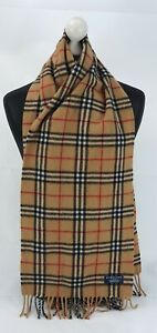 BURBERRY SCARF 100% LAMBSWOOL FOR MEN AND WOMEN MADE IN ENGLAND BEIGE W
