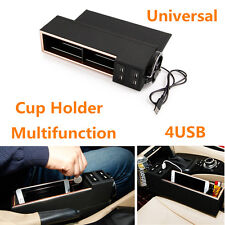 Car Driver's Side Seat Organizer Coin Phone Storage With Cup Holder 4USB Charger