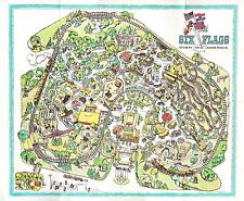 1972 SIX FLAGS OVER MID AMERICA MAP POSTER 24 X 36 Inches Nostalgic Piece
