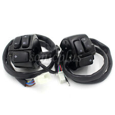 """Black Motorcycle 1"""" Handlebar Control Switch Housing Wiring Harness for Harley"""