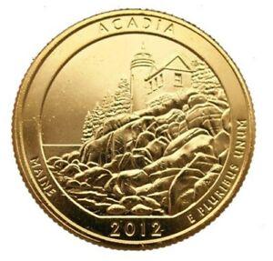 2012 ACADIA PARK 24KT GOLD PLATED QUARTER (D)