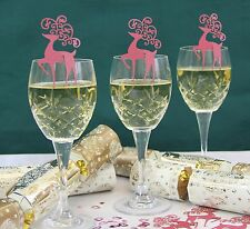 Reindeer Christmas Wine Glass Decoration Christmas Party Name Place Cards