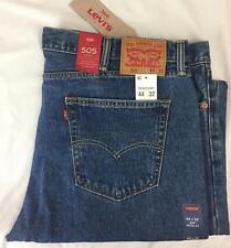 Levis 505 Mens Jeans 44x32 Regular Fit Straight Leg Stonewash Blue New W/Tags