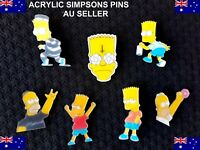 Set of 7 x The Simpsons Acrylic Plastic Pins Bart Homer Xmas Filler Jacket Funny