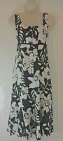 M&S Per Una Linen Midi Dress Floral Black White Sleeveless UK 10 Summer Smart