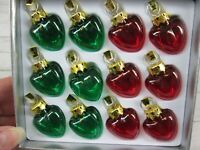 Vintage Current 12 Mini Glass Heart Christmas Ornament Red Green Gold Top New