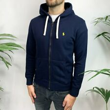 POLO RALPH LAUREN NEW MENS CUSTOM FIT ZIP UP HOODIE JUMPER 100% COTTON NAVY BLUE