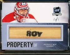 2011-12 THE CUP PROPERTY OF PATRICK ROY GAME USED STICK NAMEPLATE 1/1 HOF