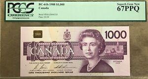 1988 Bank of Canada $1000 - PCGS Superb Gem New 67PPQ - Rare - S/N: EKA2806535