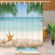 Summer Sea Star on Beach  Shower Curtain Waterproof Bathroom Fabric 71in