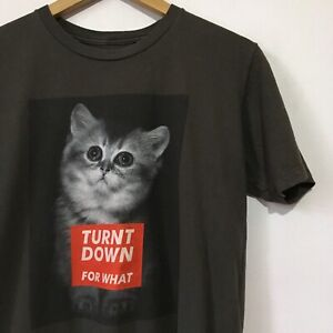 "Size Medium Grey T-Shirt Cat Graphic ""Turnt Down For What"" Black Matter Tee"