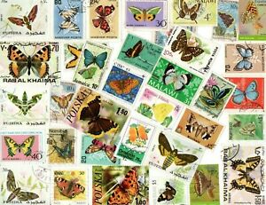 A LOVELY MIX OF 35 DIFFERENT G/FU COMMEMORATIVE STAMPS DEPICTING BUTTERFLIES