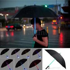 7 Color Changing LED Black Umbrella Light Flash Night Protection Flashlight Gift