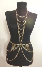 GOLD SHOWGIRL BODY CHAIN HALTERNECK DRESS SHIMMY BELLY DANCE  - UK SELLER