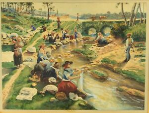 ~Antique 19th c. Watercolor G. RUSO Country Women Washing Cloths in a Stream