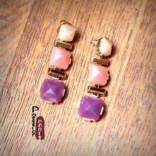Boucles d'Oreilles Clous Trois Goutte Rose Violet Carré Original Cadeau CC 3