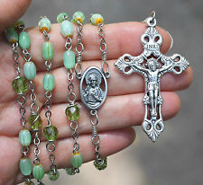 Handmade Catholic ROSARY Green GLASS rice-shaped prayer beads silvertone parts
