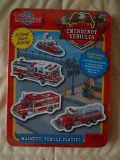 T.S. Shure Emergency Vehicles Magnetic Tin Playset New