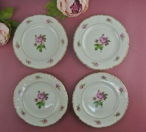 Set of 4 Vintage Federal Shape Syracuse China Victoria Rose B/B Plates