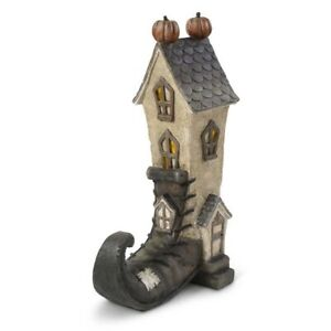 """Witch Boot House Pumpkins LED Halloween Decoration 14"""""""