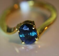 Blue Sapphire 2.25ct 18K SOLID GOLD Ring Natural Untreated Ring Size 8.0 New