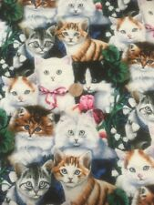 Mixed Kittens Cats 100% Cotton Quilting Craft Fabric David Textiles