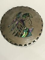 925 STERLING SILVER MEXICO ROUND WARRIOR TURQUOISE SIGNED PENDANT BROOCH PIN