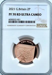 2021 2p Two Pence NGC PF70 RD Proof Great Britain Finest Known