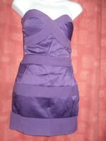 PURPLE ELISE RYAN  BODYCON STRAPLESS PENCIL FIT SLIMMING DRESS SIZE 10 UK PARTY