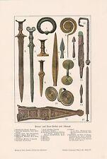 Bronzezeit Waffen Schmuck Schwert Armschmuck FARBDRUCK von 1903
