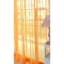 Orange Floral Tulle Voile Door Window Curtain Drape Panel Sheer Scarf Divider GJ