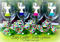 Golf Wine Glass Women Lady Golfer Unique Fun Ball Club Tournament- Set of 4 Gift