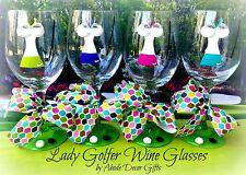 Golf Wine Glass Women Lady Golfer Unique Fun Ball Club Tournament- Set of 4 Gift