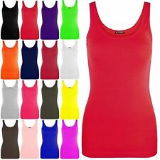 Womens Ladies Sleeveless Tank Tops Casual Cotton Vests Plain T Shirt Vest Top