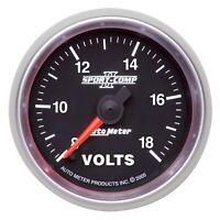"AutoMeter 3691 Sport-Comp II Electric Voltmeter Gauge 2 1/16"" 8-18 Volts"