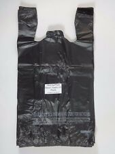 16 Plastic T Shirt Bags With Handles Black 115x 65x 22 Retail Shopping Bag