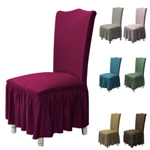 Washable Stretch Dining Chair Cover with Skirt Slipcover Wedding Chair Decor