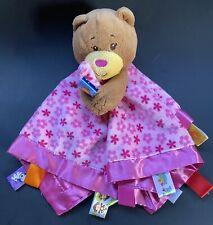 Taggies Brown Teddy Bear Pink Flower Floral Daisy Security Blanket Baby Lovey