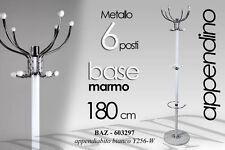 APPENDIABITI BIANCO METALLO CROMATO 6 POSTI BASE MARMO H180 CM BAZ-603297
