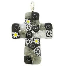 GlassOfVenice Murano Glass Black and White Millefiori Cross Pendant
